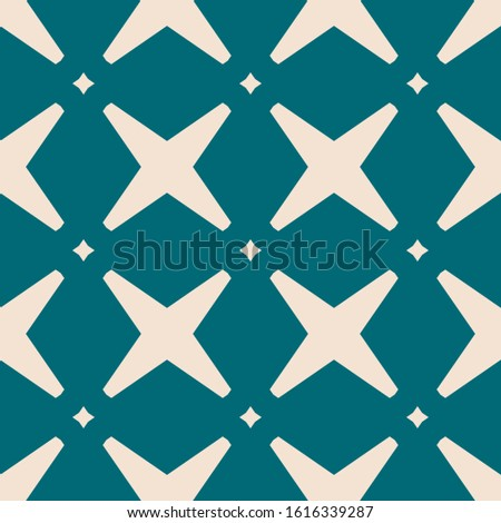 Raster abstract geometric seamless pattern with crosses and diamonds. Elegant background with grid, lattice, net, repeat tiles. Simple graphic ornament in teal and beige color. Modern repeated design
