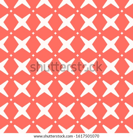 Raster abstract geometric seamless pattern with crosses and diamonds. Elegant background with grid, lattice, net, repeat tiles. Simple graphic ornament in coral and white color. Modern repeated design