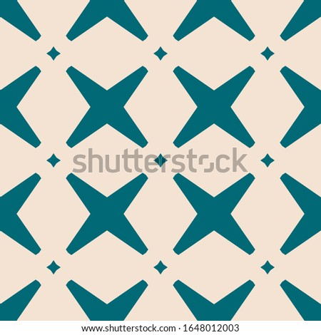 Raster abstract geometric seamless pattern with crosses and diamonds. Elegant background with grid, lattice, net, repeat tiles. Simple graphic ornament in teal and beige color. Stylish repeated design