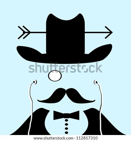 raster art of gentleman with monocle and arrow through cowboy hat wearing earphones