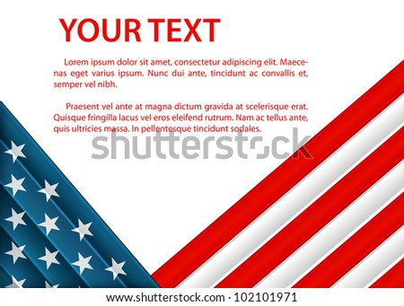 raster background with American flag in plastic style