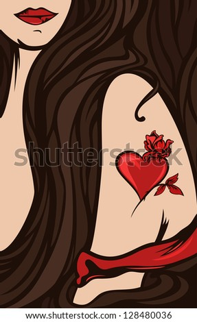 raster - beautiful woman shoulder with a tattoo - heart and rose (vector version is available in my portfolio) - stock photo