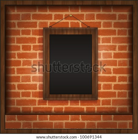 raster Blackboard frame wood menu brick wall - stock photo