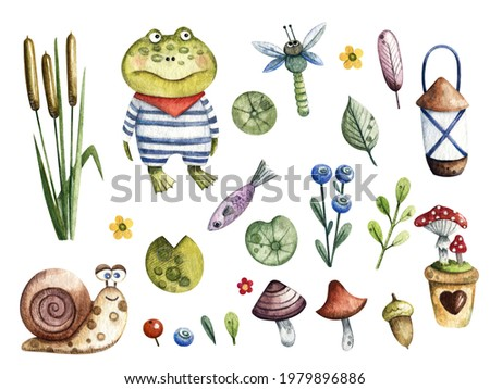 Raster children's watercolor illustration of a pond. Cute image of frogs, snails, mushrooms, dragonfly, leaves. Design elements, pictures for children's books, scrapbooking, stickers, postcards. Foto stock ©