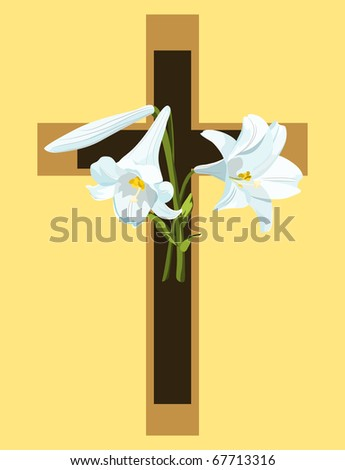 Raster Christian cross with Easter lilies on gold background