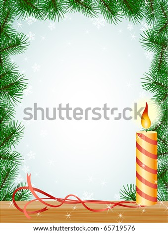 raster: christmas fir branches ribbon pattern with candle