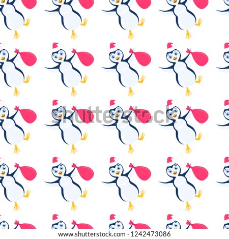 Raster christmas seamless pattern with slant happy stomping penguin in santa red hat with bag in outstretched arms isolated on the white background.