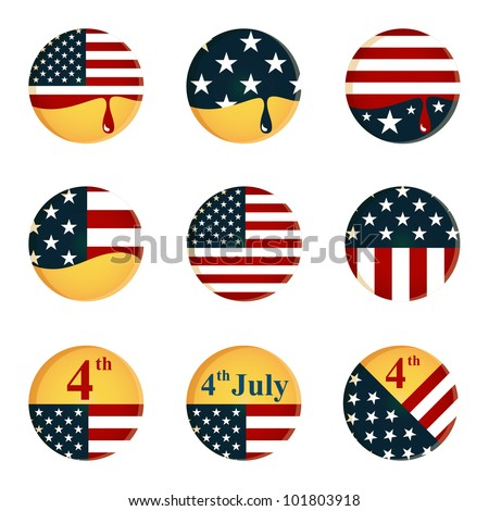 raster collection of buttons with American flag and 4th of July Independence day theme