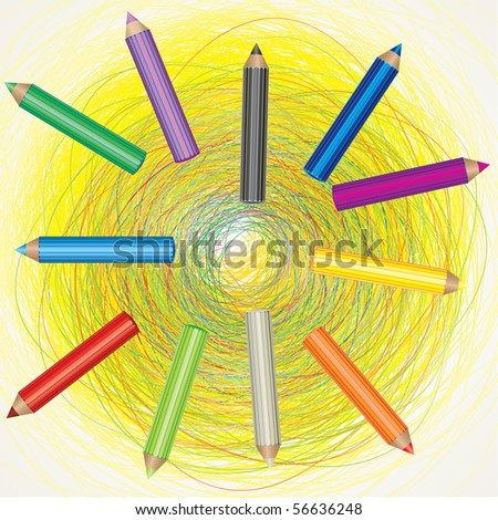 RASTER colorful background with drawing and color pencils