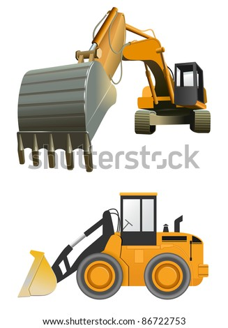 raster construction machines on white background, vector files available
