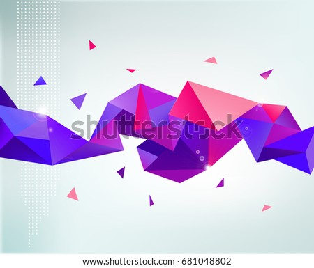 Raster copy. abstract colorful rainbow faceted crystal banner, 3d shape with triangles, geometric, modern template