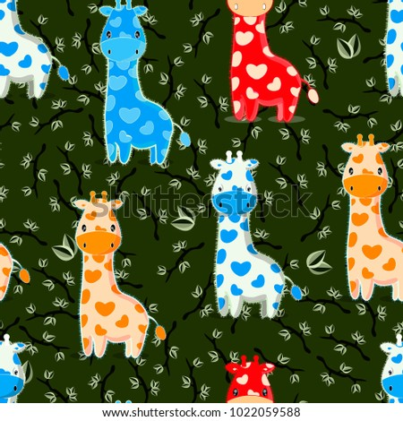 raster copy; african savanna background with colorful cartoon baby giraffes and swamp color leaves branches; seamless pattern with child animals for web, textile, card design; isolated cute characters