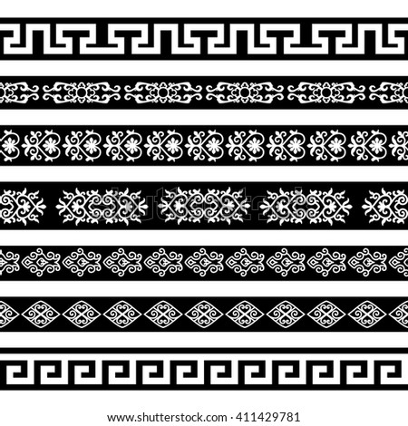 Raster copy. Borders with ornamental elements. Oriental decor for divider or frame. #411429781
