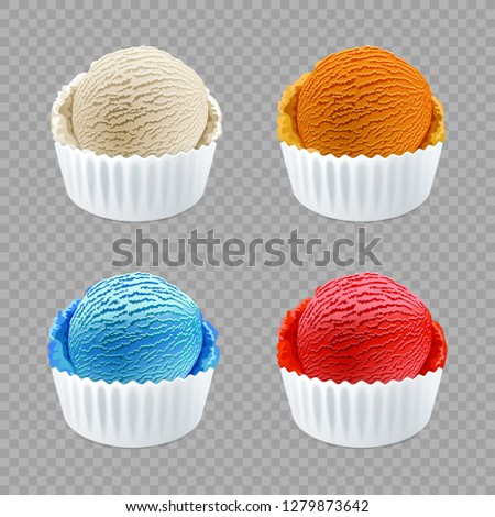 raster copy different flavor ice cream scoops side view on transparent background art