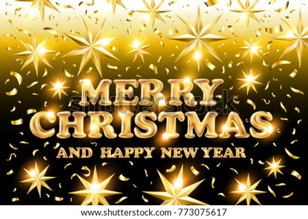 raster copy gold Merry Christmas and Happy New Year black shine background with decoration on golden light stars confetti.  illustration. Xmas card. art #773075617