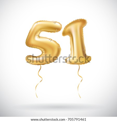 raster copy Golden number 51 fifty one metallic balloon. Party decoration golden balloons. Anniversary sign for happy holiday, celebration, birthday, carnival, new year. art