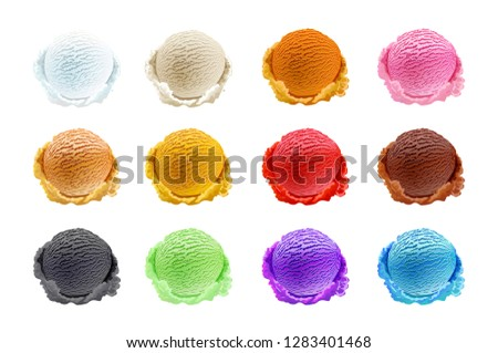 raster copy Ice cream scoops collection on white background  art
