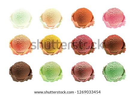 raster copy ice cream scoops Set of different colors and flavours with berries, nuts and fruits decoration isolated on white background art