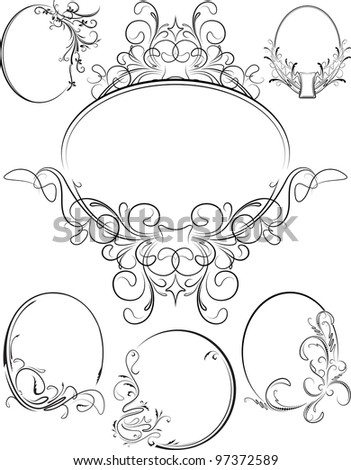 Raster copy of big set of oval frames