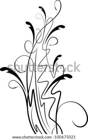Raster copy of  floral branch with shadow.