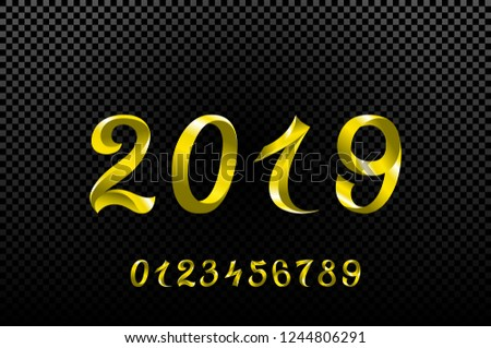 raster copy 2019 yellow New Year sign with glitter and loading panel on black background. illustration. art #1244806291