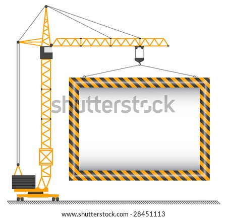 raster crane lifting cargo on a white background
