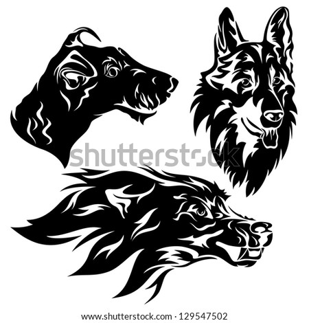 raster - dog head set - black and white illustration (vector version is available in my portfolio)