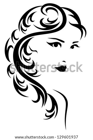 raster - elegant hairstyle illustration - black and white stylized portrait of a beautiful woman with long hair  (vector version is available in my portfolio)
