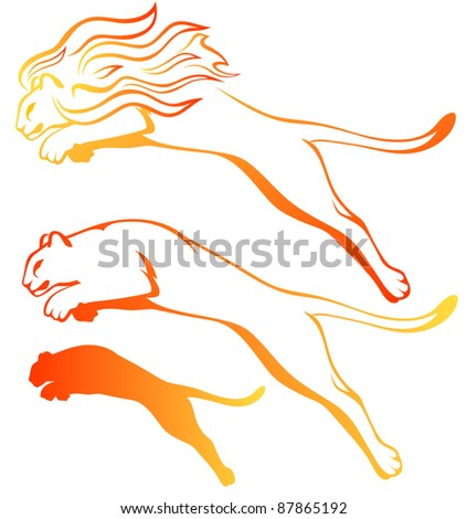 raster - fire lions set (vector version is available in my portfolio) - stock photo