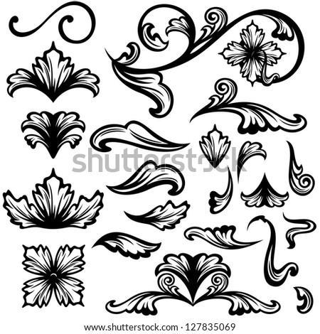 raster - floral swirls - set of fine outlines - black design elements over white  (vector version is available in my portfolio)