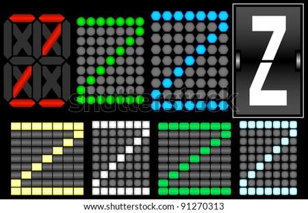 Raster Font Set 4 Digital Display Letter Z