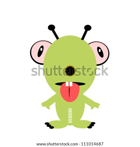 raster funny monster with antenna and tongue sticking out