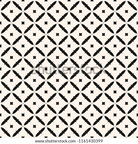 Raster geometric seamless floral pattern. Simple repeat black and white ornament in oriental style. Elegant monochrome background texture with small elements, lattice. Design for decor, fabric, prints