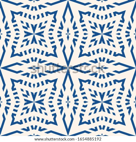 Raster geometric seamless pattern. Abstract floral ornamental background, repeat tiles, lines, stars, grid. Abstract blue and white ornament. Modern oriental style texture. Elegant repeated design
