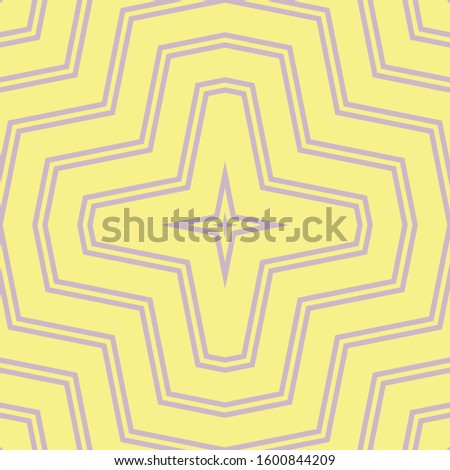 Raster geometric seamless pattern. Elegant texture with zig zag lines, stripes, chevron, crosses, repeat tiles. Simple abstract geometry. Subtle yellow and lilac graphic background. Repeated design