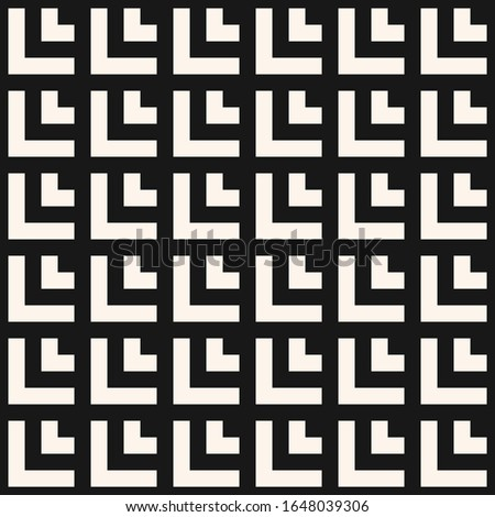 Raster geometric seamless pattern with squares, tiles, lines, rectangles, grid, net, lattice. Abstract black and white graphic texture. Simple minimal monochrome background. Repeat tileable design