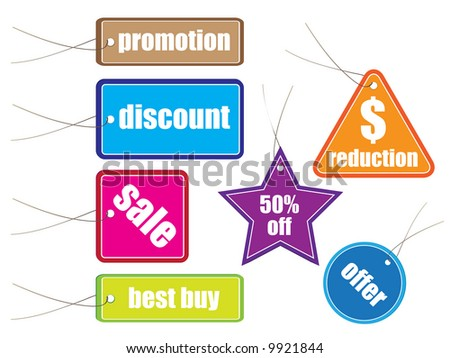 Raster - Glossy colorful sale tag for discount or promotion of your shop items.