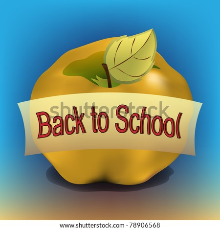 Raster Golden apple with back to school banner