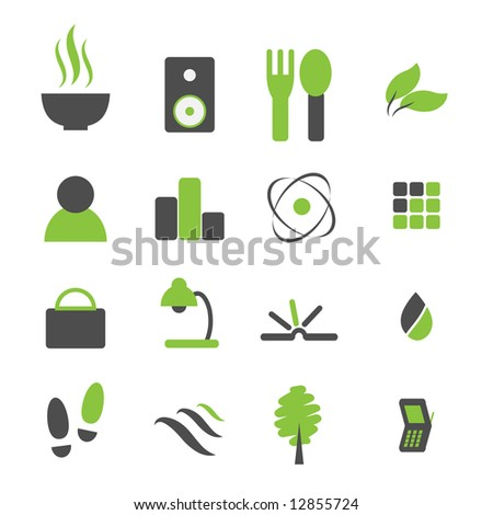Raster - Green symbol icon set for modern company logo.