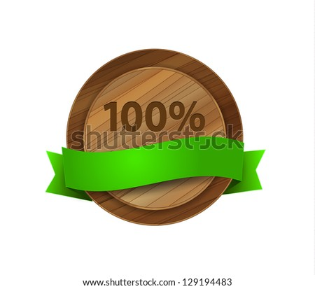 Raster 100% green wooden label with glossy green ribbon