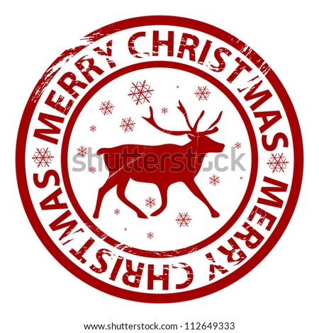 Raster grunge Christmas stamp with reindeer and snowflakes