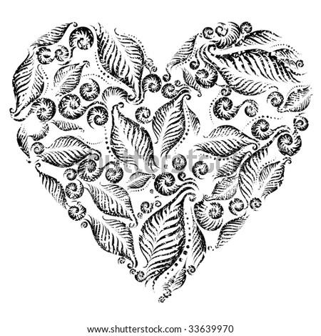 RASTER Grunge heart from fern leafs. Saint Valentine's Day.