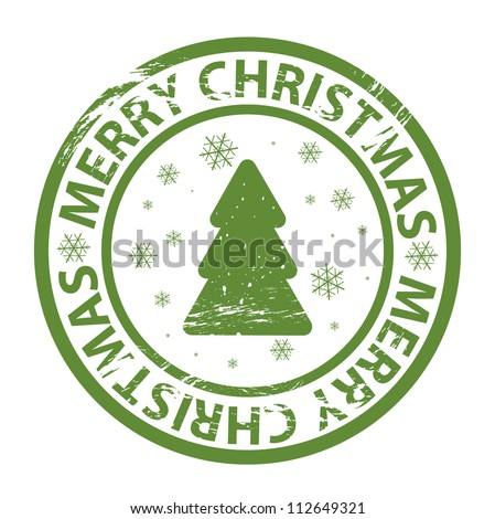 Raster grunge stamp with fir tree