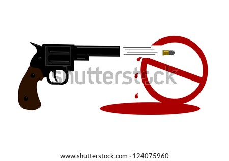 raster gun ban symbol being shot