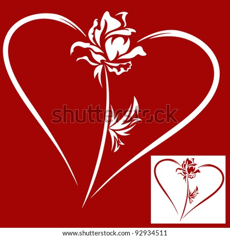 raster - heart with rose - design element for Valentine's Day (vector version is available in my portfolio)