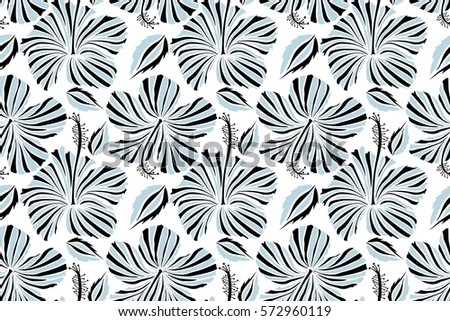 Raster hibiscus flowers and buds retro seamless pattern illustration in neutral and black colors on white background.