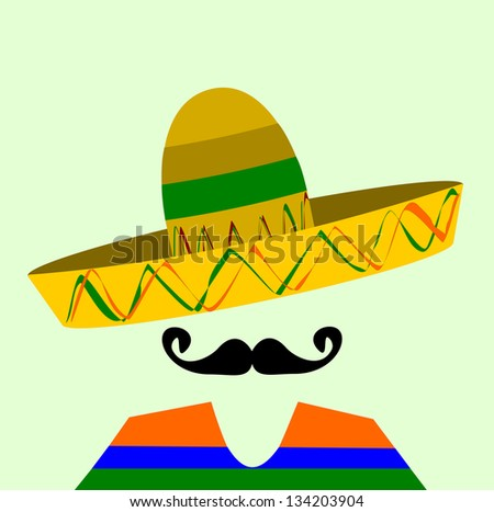 raster hispanic man with sombrero and large mustache