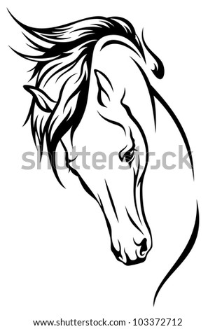 raster - horse head with flying mane illustration (vector version is available in my portfolio)