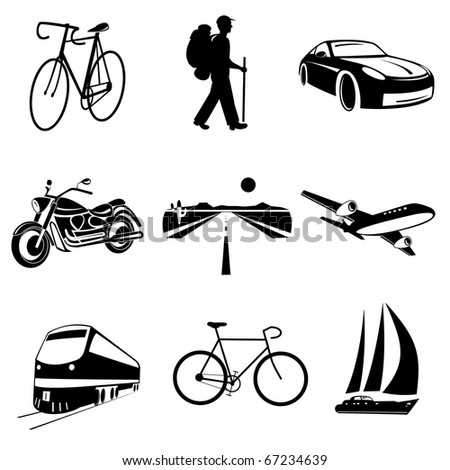 Raster icons of transport