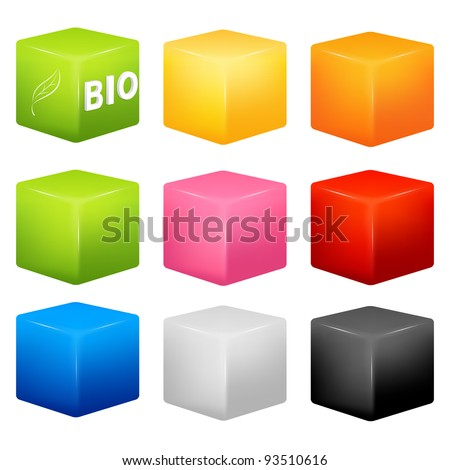 raster illustration - a collection of cubes of various colors with an example of possible usage as a background for icons or text